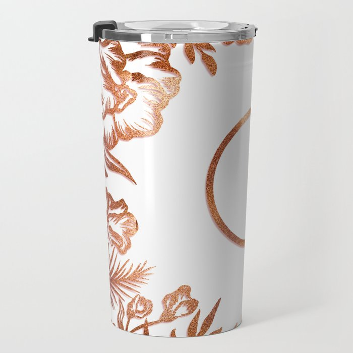 Letter G - Faux Rose Gold Glitter Flowers Travel Mug