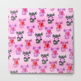 Axolotl loves you pink pattern Metal Print
