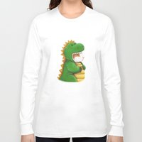 guinea pig Long Sleeve T-shirts featuring Guinea Pig in a Dinosaur Costume - Peegosaurus Rex by When Guinea Pigs Fly