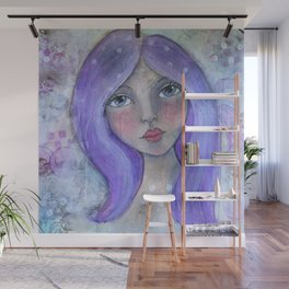 Purple Hair Whimiscal Girl Wall Mural