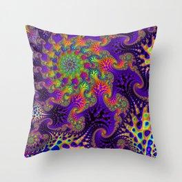 Vibrant Rainbow Spiral Throw Pillow