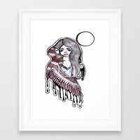 selena gomez Framed Art Prints featuring Selena by meowkitty17
