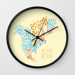 North America ~ Writing Sistems Wall Clock