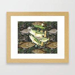 Live for the Catch- Bass Camo Framed Art Print