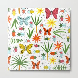bright bugs butterflies and blooms Metal Print
