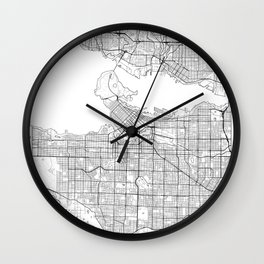 Vancouver Map White Wall Clock
