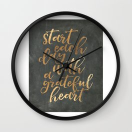 CHALKBOARD WALL ART, Start Each Day With A Grateful Heart,Thankful Heart,Motivational Quote,Inspirat Wall Clock
