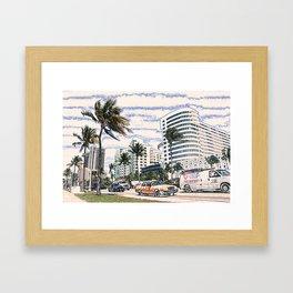 Taxi Miami Beach Florida ArtWork Painting Framed Art Print