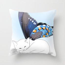 White Kitten Fairy Throw Pillow