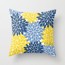 Blue Yellow Flower Burst Floral Pattern Throw Pillow