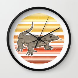 Sunset Vintage Retro Komodo Dragon T-Shirt Wall Clock