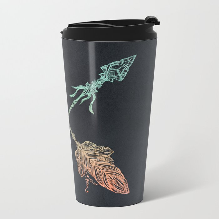 Arrows Turquoise Coral on Navy Metal Travel Mug