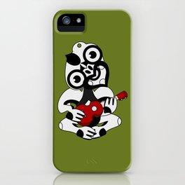Black and Grey Hei Tiki playing a Ukulele iPhone Case