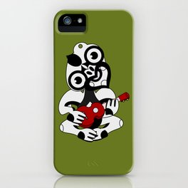 Black and Grey Hei Tiki playing a Ukulele iPhone Case