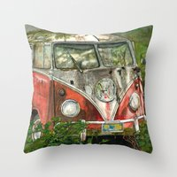 volkswagon Throw Pillows featuring VW Bus in the Woods by Barb Laskey Studio