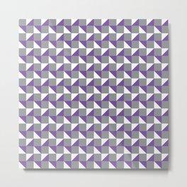 Grey Purple and White Geometric Pattern Metal Print