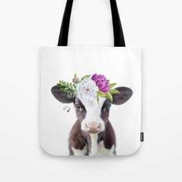 Baby Cow with Flower Crown Tote Bag