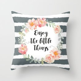 Wreath peony and rose with quote. Throw Pillow