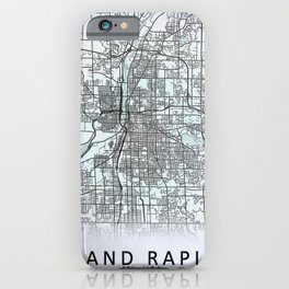 Grand Rapids, MI, USA, White, City, Map iPhone Case