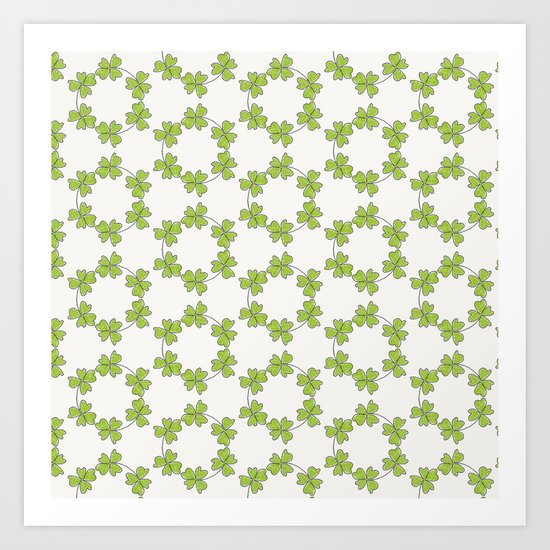 four-leaf clover leaves pattern Art Print