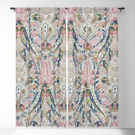 Pink Blue Green Leaf Flower Paisley Blackout Curtain