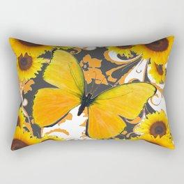 GOLDEN BUTTERFLY & SUNFLOWERS ARABESQUES Rectangular Pillow