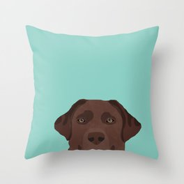 Chocolate Lab dog breed portrait pet art dog lover gifts labrador retriever Throw Pillow