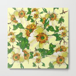 ABSTRACTED APPLE BLOSSOMS PATTERN Metal Print