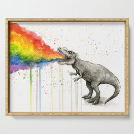 T-Rex Dinosaur Vomits Rainbow Serving Tray
