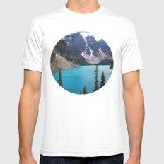 Moraine Lake Upper trail view White MEDIUM Mens Fitted Tee