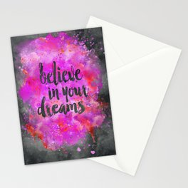 Believe dreams watercolor motivational quote Stationery Cards