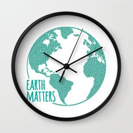 Earth Matters - Earth Day - Watercolor Dots 01 Wall Clock