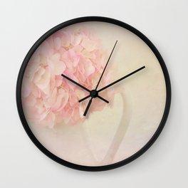 Pink Hydragea Flowers in White Vase Wall Clock