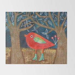 Red Bird in Galoshes Throw Blanket