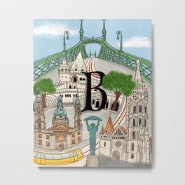 Budapest Illustration  Metal Print