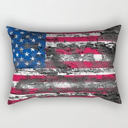 American Flag Painted on Wood Rectangular Pillow