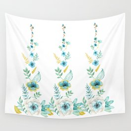 Blue Floral Twist Wall Tapestry