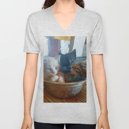 Three Kitties One Bowl Unisex V-Neck