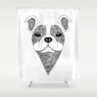 bulldog Shower Curtains featuring Bulldog  by Art & Be