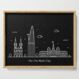 Ho Chi Minh City Minimal Nightscape / Skyline Drawing Serving Tray