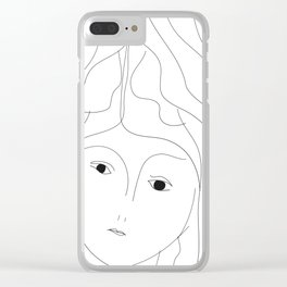 Hair lines a face and black eyes Clear iPhone Case