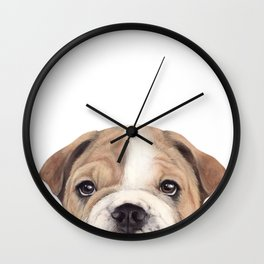 Bulldog Original painting Dog illustration original painting print Wall Clock