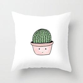 Cute smiling cactus Throw Pillow