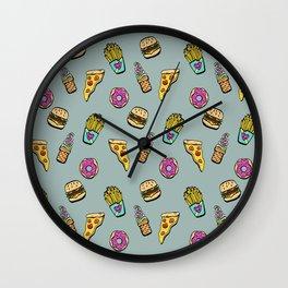 Fast Food Heaven Illustrated Pattern Wall Clock