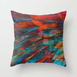 Scarlet Macaw Parrot Feather Abstract Throw Pillow