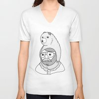 baby V-neck T-shirts featuring On how baby bears are often used as winter hats by Michael C. Hsiung