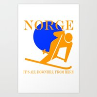 norway Art Prints featuring Norway by rita rose
