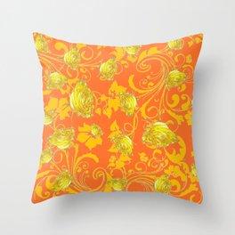 AWESOME CUMIN ORANGE & YELLOW ROSE SCROLLS  ART Throw Pillow