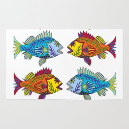 Red and Blue Rockfish Rug