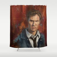 true detective Shower Curtains featuring True Detective by LucioL